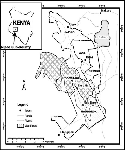 Map of Njoro sub-county, Kenya.