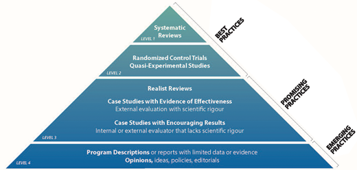 Hierarchy of evidence (Canadian Homelessness Research Network 2013).