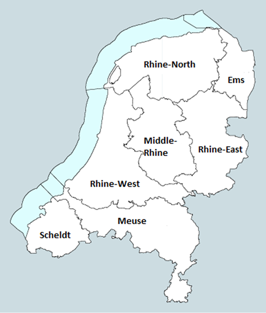 The Rhine-West and Meuse basins in the Netherlands (Source:Watervragen, 2014).