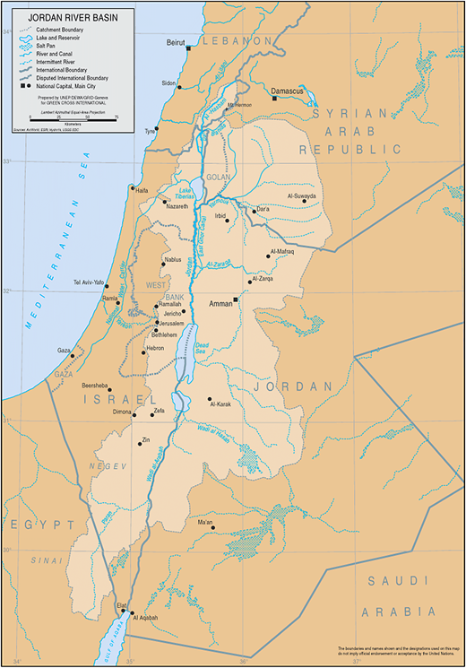 The JRB. The Upper Jordan River extends between its headwater (at the confluence of the Dan, Banias and Hatzbani) and Lake Tiberias-Kineret. The LJR is the southern stretch of the river between Lake Kineret and the Dead Sea. Source: United Nations Environment Program (http://www.grid.unep.ch/products/4_Maps/jordanb.gif).