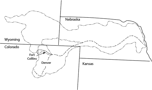 Upper reaches of the Platte basin showing Poudre watershed.