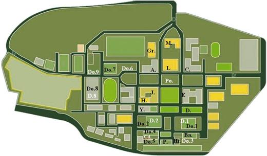 Layout of Northeastern University; A.: Jianzhu building; Ba.: NEU bath house; C.: Caikuang building; Cd.: Central dining hall; D.: Dacheng building; D.1: 1st dining hall; D.2: 2nd dining hall; D.8: 8th dining hall; Do.1: 1st dormitory; Do.2: 2nd dormitory; Do.3: 3rd dormitory; Do.4: 4th dormitory; Do.5: 5th dormitory; Do.6: 6th dormitory; Do.7: 7th dormitory; Do.8: 8th dormitory; Do.9: 9th dormitory; E.: Yejin building; Fi.: firewater tank; Gr.: gardening center; H.: Heshili building; Hr.: Hui Restaurant; J.: Jidian building; L.: Library; M.: Main building; P.: Peixun dormitory; Po.: pool; Rs.: Rice-purchasing station; Y.: Yifu building.