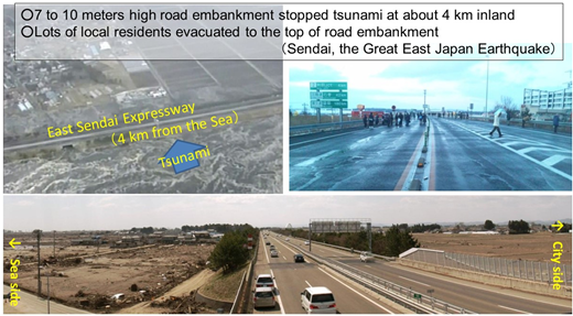 An expressway functioned as a tsunami barrier and an evacuation site.