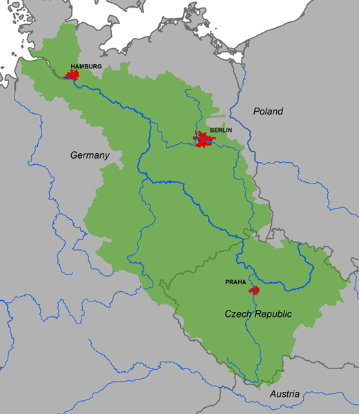 Map of the Elbe River Basin (Federal Institute of Hydrology, Koblenz, Germany).