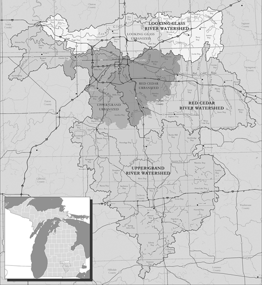 Map of watersheds represented by the GLRC. Image courtesy of GLRC (www.mywatersheds.org).