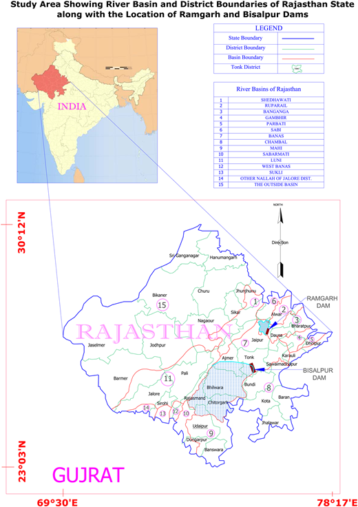Hydrological map of Rajasthan State.