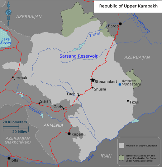 Location of reservoir in the northern part of Upper Karabakh. Map adapted from Peter Fitzgerald (2010), available at: https://commons.wikimedia.org/wiki/File:Nagorno-Karabakh_regions_map.png.