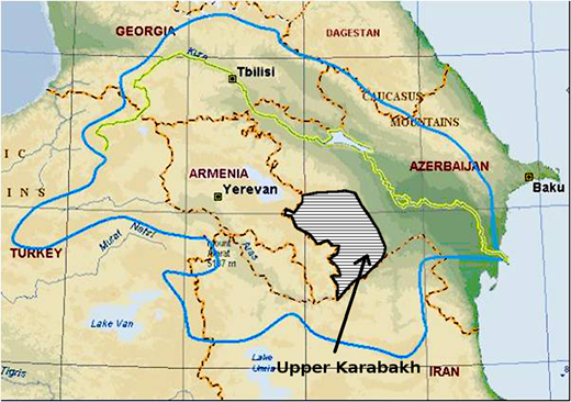 The Kura-Araks basin according to Vener (2006). Upper Karabakh area added by the author of the present article.