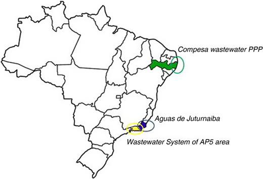 Location of case studies on a map of Brazil.