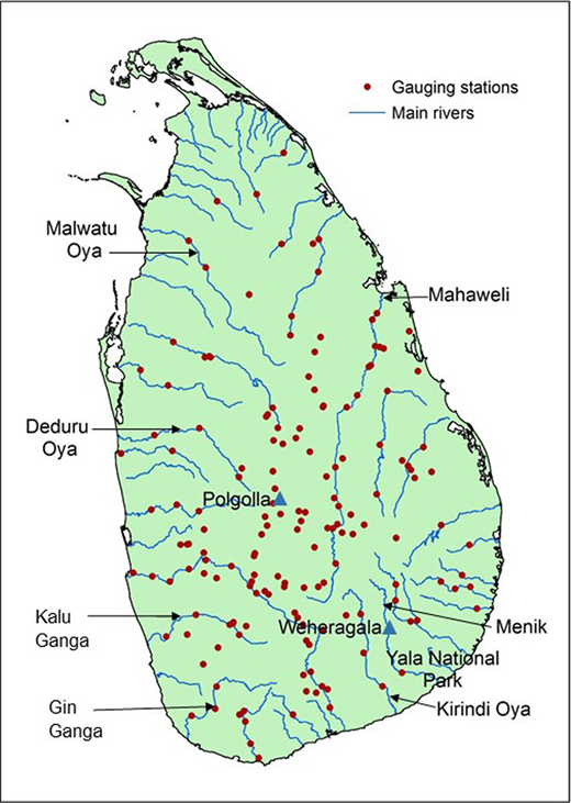 River basins in Sri Lanka, location of gauged data locations (in black) and the density of data locations in each basin.