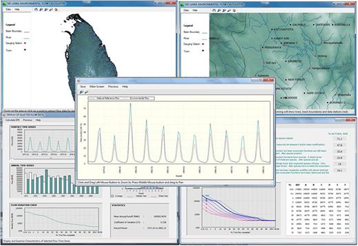 Screenshots from the Sri Lanka Environmental Flow Calculator (SLEFC).
