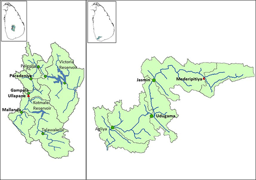 (a) Location of Ullapane on river Mahaweli and (b) Mederipitiya on river Gin Ganga where EF is estimated (triangles). Gauge locations are shown with circles.