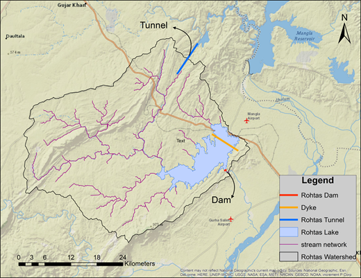 Watershed and lake area of Rohtas Dam.