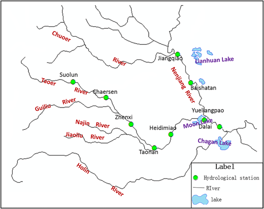 Locations of hydrological stations.