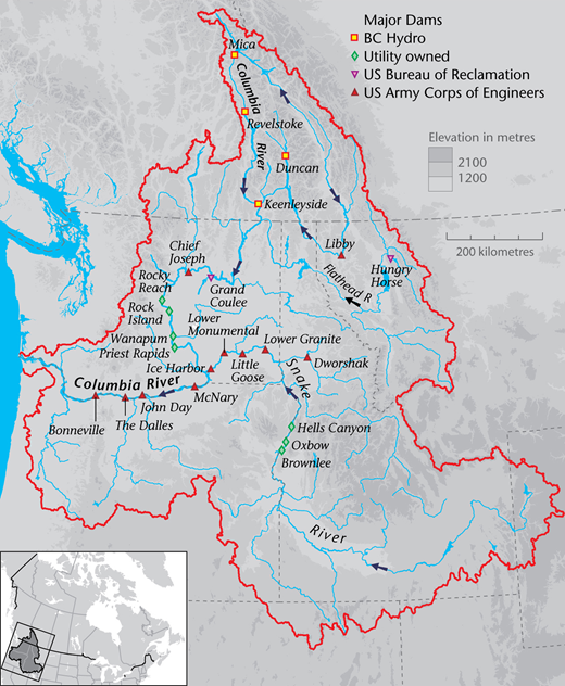 Columbia River basin and major dams (Water Without Borders, 2012).