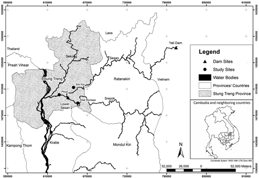Map of the 3S River Basin and the location of the study areas.