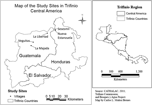 Map of Trifinio and sampled communities.