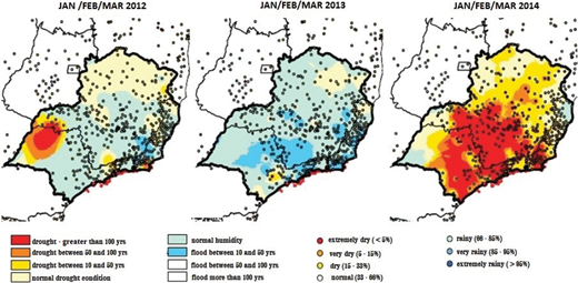 Criticality of rainfall during rainy period (JFM) for 2012–2014 in SE Brazil (ANA, 2015). A color version of this figure is available in the online version of this paper: http://dx.doi.org/10.2166/wp.2016.113.