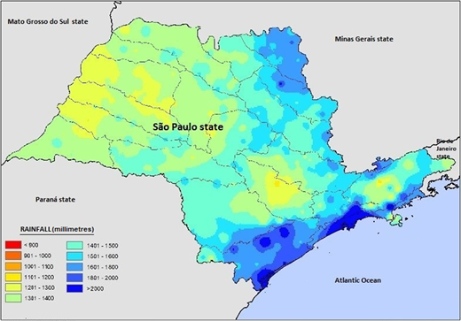 Average annual precipitation in the State of São Paulo (1979–2013).