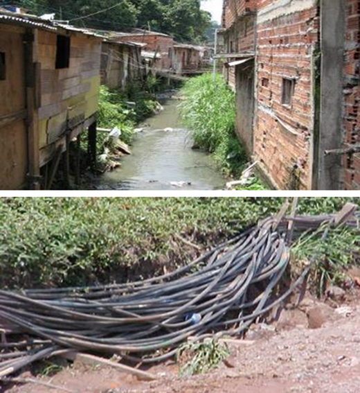 Illegal connections in informal settlements.