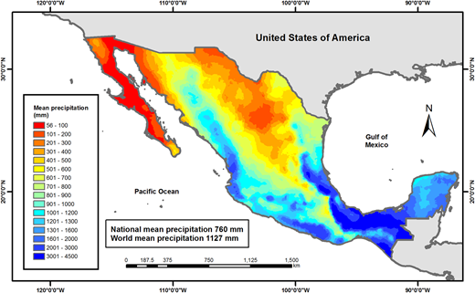 Mean annual precipitation in millimetres (mm), Mexico. Source:CONAGUA (National Water Commission) (2015).