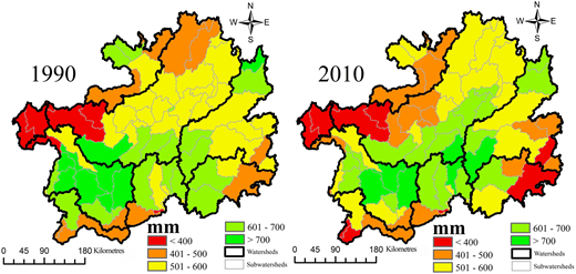 Spatial pattern of water supply in 1990 (left) and 2010 (right) at watershed scale.