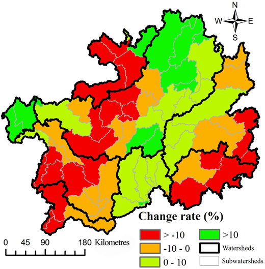 Spatial pattern of water supply change from 1990 to 2010 at the watershed scale.
