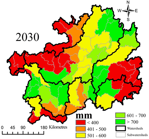 Predicted spatial pattern of water supply for 2030 at the watershed scale.