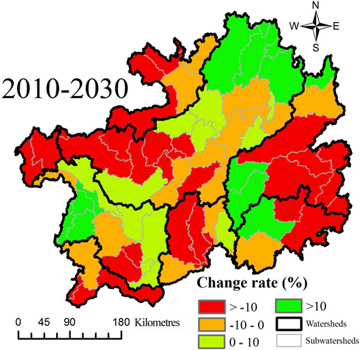 Calculated prediction of changes in water supply at the watershed scale from 2010 to 2030.