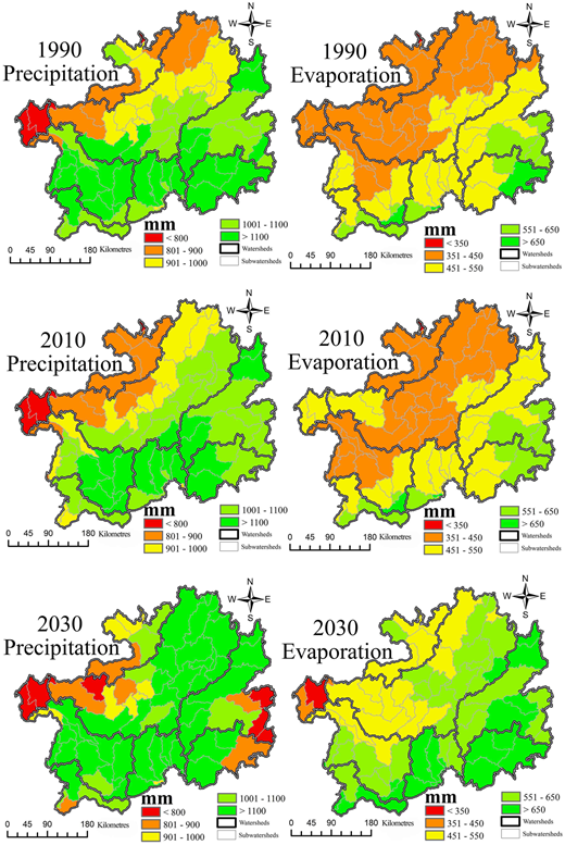 Precipitation and evaporation for 1990, 2010, and 2030 at the watershed scale.