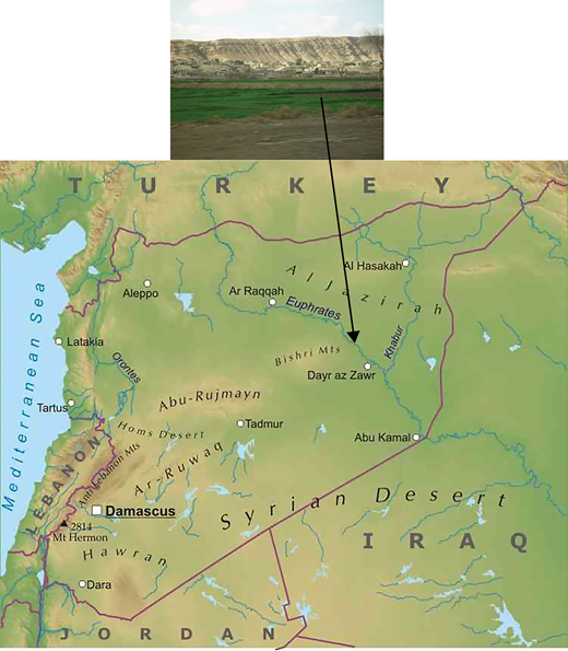 The Syrian sedimentary plateau. The central figure source: http://www.freeworldmaps.net/asia/syria/map.html (accessed 23 August 2011).