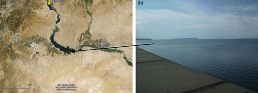 Al-Assad Dam (Google Earth (a) and local photograph (b), February 2011).