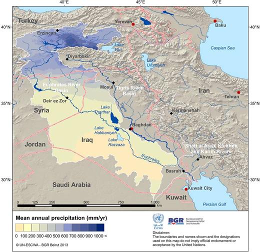Average annual precipitation in the Euphrates River basin.