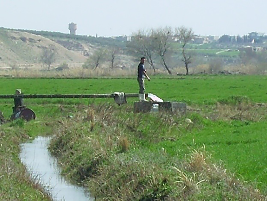 Water pumping and redistribution by channels for traditional agriculture activities (March 2011).