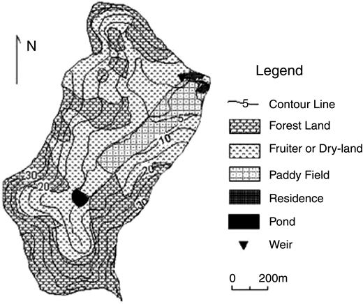 Land use and topographic map of Meilin watershed.