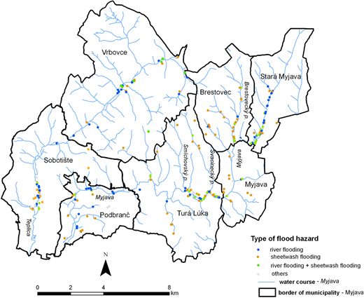 Location of households in municipalities affected by flooding.