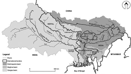 Geopolitical units in the GBM river basin. Source: modified from Rahaman (2009). Note: For convenience, the map currently indicates the disputed border according to China's claims.