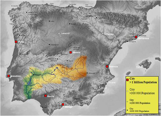 The Guadiana basin. Source: Creative Commons Attribution Share Alike 3.0, based on an image of http://www.maps-for-free.com/.
