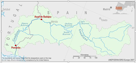 Location of Azud de Badajoz and Pomarão stations on the Guadiana. Source: UNEP/DEWA/GRID-Europe 2007.