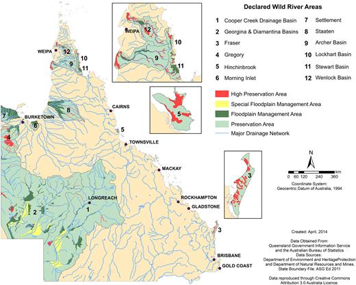 Map of designated Queensland wild river areas.