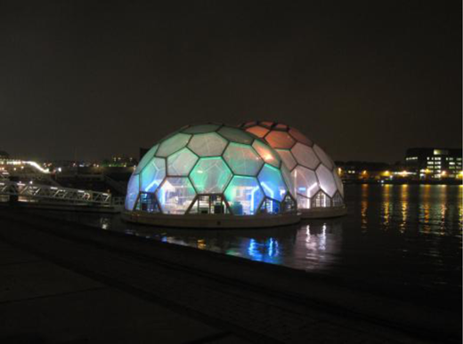 Floating pavilion at night (image Arnoud Molenaar).