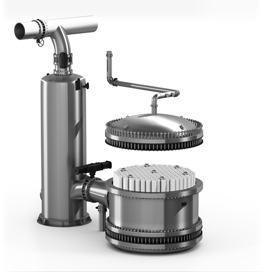 CeraMac® vessel system with 192 ceramic elements and a backwash tank.