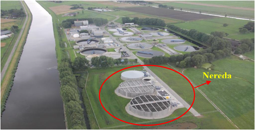 Nereda®Garmerwolde WWTP. (The two Nereda tanks in front treat approx. 40% of the sewage. The existing AB-system in the back 60%).