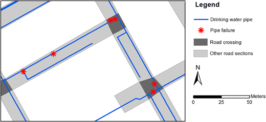 Spatial data of drinking water pipes, pipe failures and roads in a GIS.