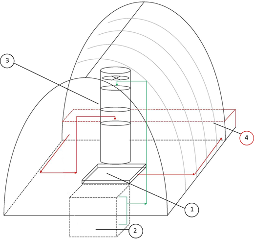 A 3D diagram of the greenhouse design.