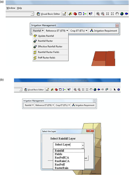(a) The Rainfall menu and its modules; (b) graphical window to select layer for rainfall.