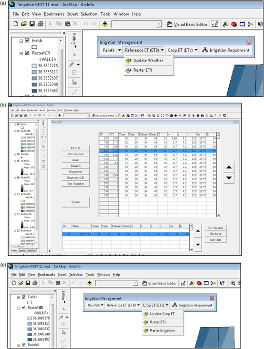 (a) Reference ET (ETo) menu and its modules; (b) graphical window for ETo to allow updating of weather parameter and computation of ETo; (c) menu for Crop ET (ETc) along with its modules.