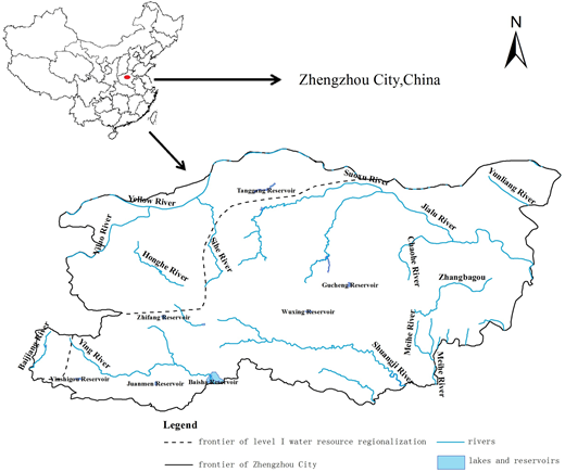 The river systems of Zhengzhou City in 2009.
