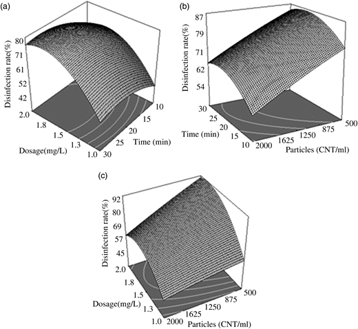 Response surface plots for PAB inactivation as an interaction function of independent variables (temperature: 25 °C; pH: 7.4). (a) Particle concentration: approximately 1,250 counts/mL; (b) ClO2 dosage: 1.5 mg/L; (c): exposure time: 20 min.