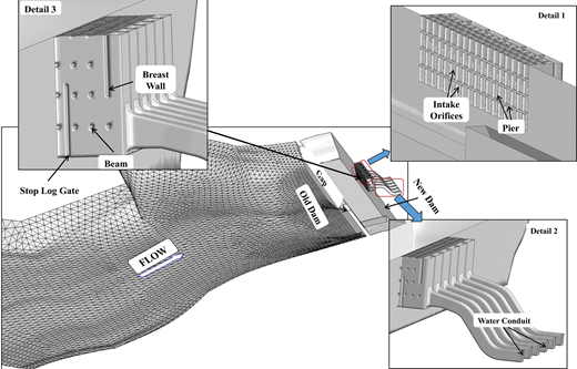 Illustration of the main power structures and forebay of the New Fengman project.
